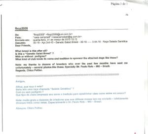 Email sobre cães do tipo Salada Genética - 31-03-10
